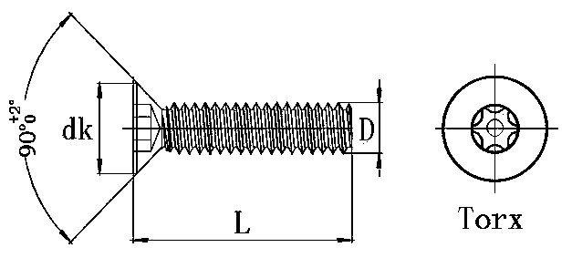 6 torx pin flat head screws