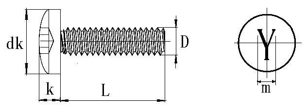 Y style pan head screws drawing