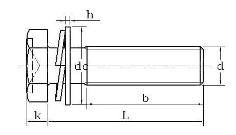 hex head sems screws dimension